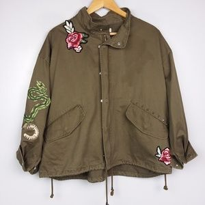 H&M Olive Green Embroidered Patch Utility Jacket